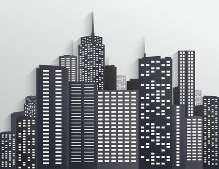 city skyline: Black and white City Skyline Illustration