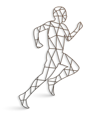 jogging track: Running man with lines on a white background