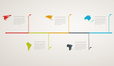 Structure timeline with world map Vector
