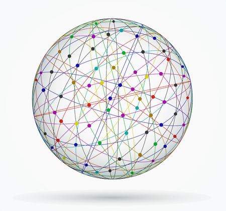 Multicoloured sphere of global digital connections, network Vector