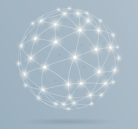 네트워크, 빛나는 라인 글로벌 디지털 연결 일러스트