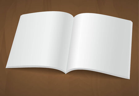 void: Open blank brochure or magazine on a wooden background