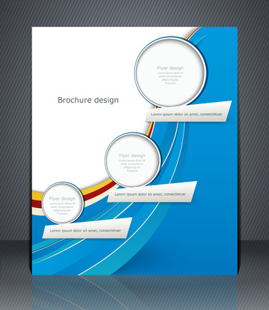 Business brochure with blue and green elements, magazine cover, flyer, or poster
