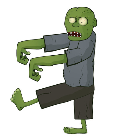 menacing: Zombie on white background