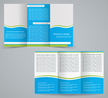 fold: Tri-fold business brochure template, vector blue design flyer