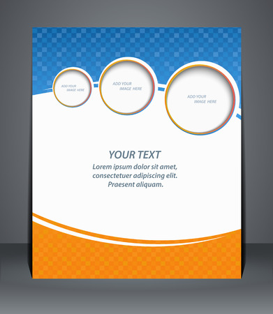 Flyer design, template, or a magazine cover in blue and orange colors   Vector Vector