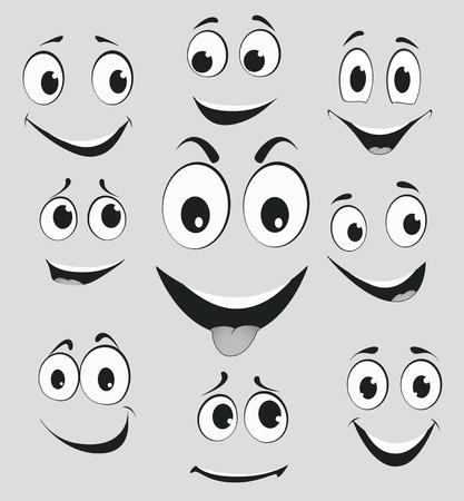 expresiones faciales: Expresiones faciales, emociones cara de la historieta Vectores