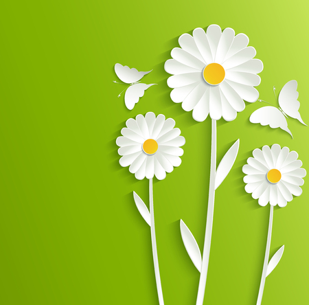 yellow daisy: Summer flowers with butterflies on a bright green background