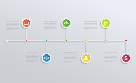 show time: Structure timeline with business icons Illustration