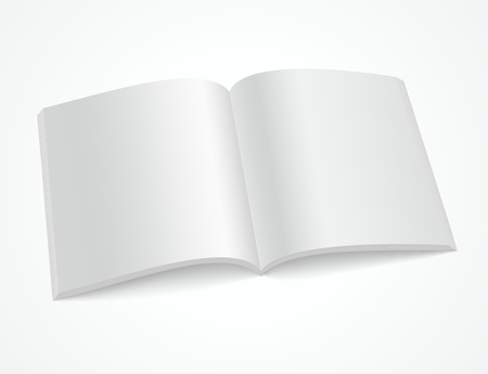 periodical: Open blank brochure or magazine on white background