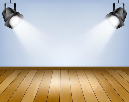 Blue background with spotlights  Studio with wooden floor