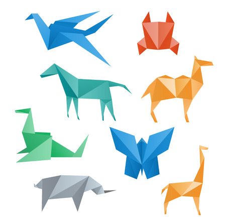 Paper animals, crane, horse, camel, crab, dragon, rhino, giraffe, butterfly, origami style  Vector