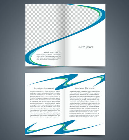 Booklet Template, Design With Blue And Green Elements, Layout ...