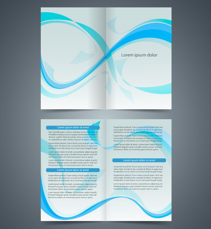Blue booklet, template design  with waves, layout business brochure or catalog, flyer template,