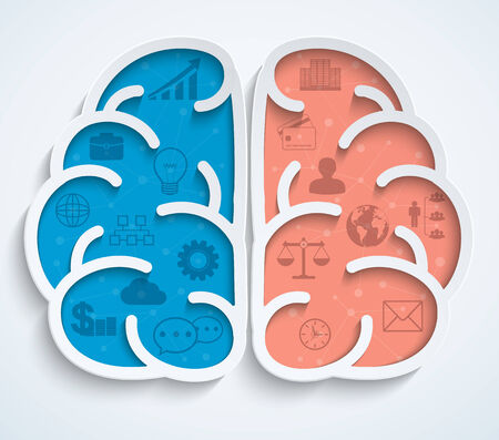 Brain with business icons on white background Vector