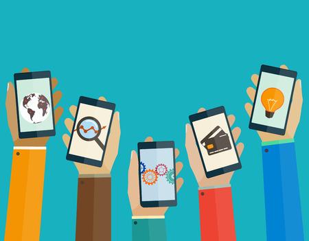 사람들의 손에 플랫 디자인 컨셉 모바일 애플 리케이션 전화
