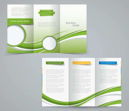 Drie gevouwen brochure sjabloon, zakelijke flyer of cover ontwerp in groene kleuren