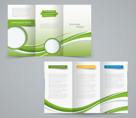 Three fold brochure template, corporate flyer or cover design in green colors