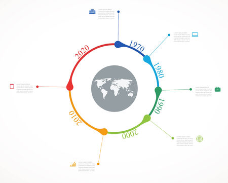 on temporary: Temporary timeline infographic with economic icons circular structure design