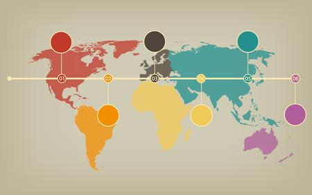 halftones: Timeline map of the world in soft vintage halftones