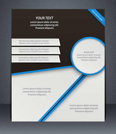 catalogs: Vector layout business flyer, magazine cover, or corporate design template advertisment, blue color. Illustration