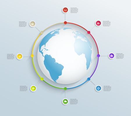 Abstract circular timeline with world map and business icons Vector