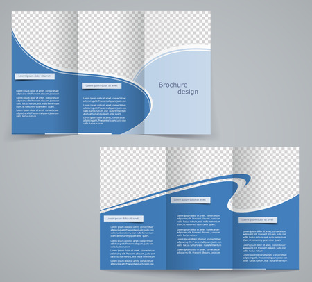 Three fold business brochure template, corporate flyer or cover design in blue colors Stock Vector - 28424820