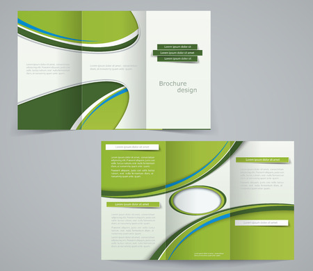 magazine stack: Three fold brochure template, corporate flyer or cover design in green colors