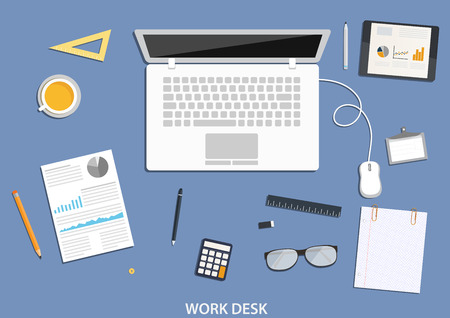 espacio de trabajo: Espacio de trabajo, dise�o de escritorio plana con iconos de negocios Vectores