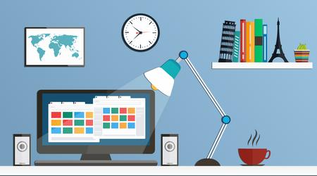 Flat design desktop, workspace Vector