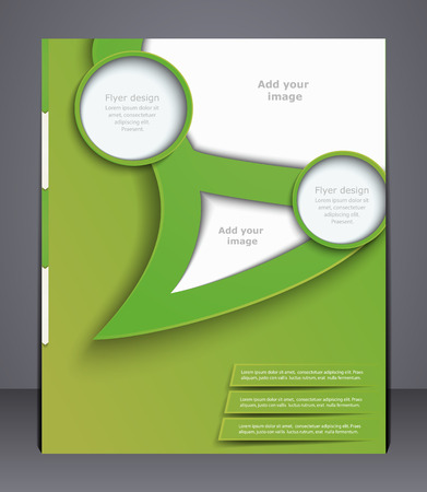 layout business flyer, magazine cover, template or corporate banner design  in green colors.  Illustration
