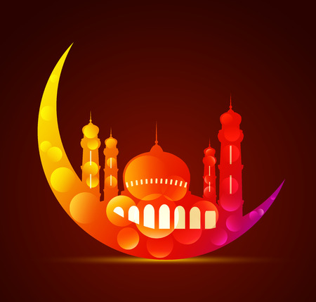 ramzaan: Moon with a mosque in various colors