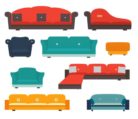 upholstered: Armchairs and sofas flat style Illustration