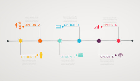 Timeline Infographic with business icons, step by step  horizontal structure Vector