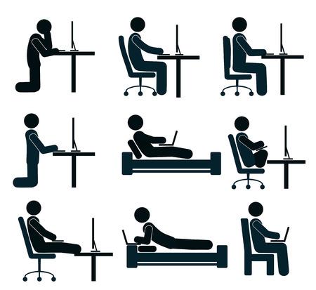 menschen sitzend: Gute und schlechte Arbeitsposition des menschlichen am Computer