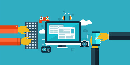 elearning: Flat design icons for web and mobile  Interaction hands using keyboard and mobile application  Illustration