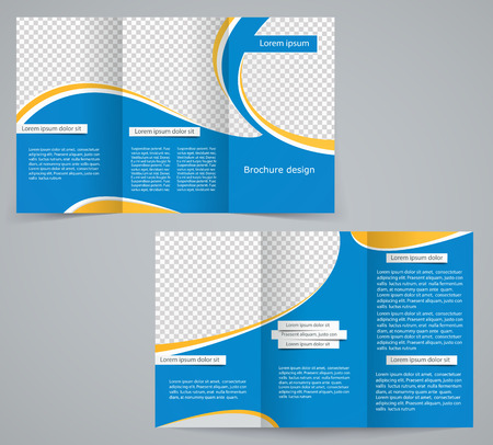 Three fold business brochure template, corporate flyer or cover design in blue colors Vector