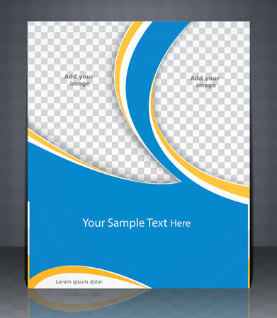 catalogs: layout flyer, magazine cover, or corporate design template advertisement in blue color