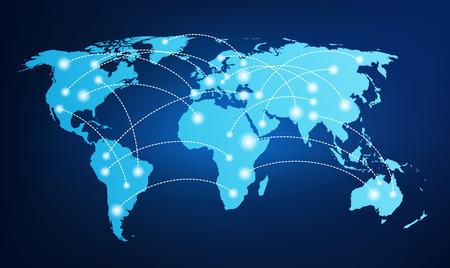 Carte du monde avec des connexions mondiales