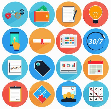 금융 서비스,보고, 동기 부여, 비즈니스 기호의 스타일에서 긴 그림자 설정 플랫 아이콘