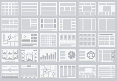 Website Flowcharts, layouts of tabs, infographics and maps Vector