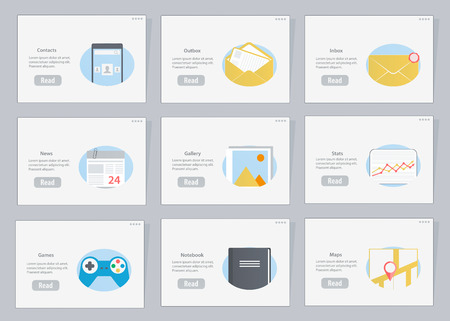 Website and mobile Flowcharts with icons in flat style Vector