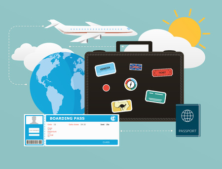 Icons set of traveling, objects of tourism and travel in the flat design Vector