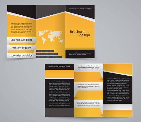 a4: Three fold business brochure template, corporate flyer or cover design in yellow colors Illustration