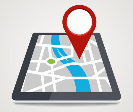 화면의 포인터와 휴대 전화, 평면 스타일로 개념을 GPS를
