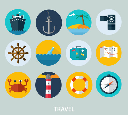 ship wheel: Travel icons, flat design of icons for web and mobile