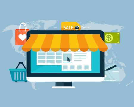 전자 자금, 웹 및 모바일에 대 한 아이콘의 평면 디자인으로 온라인 쇼핑의 개념입니다. 일러스트