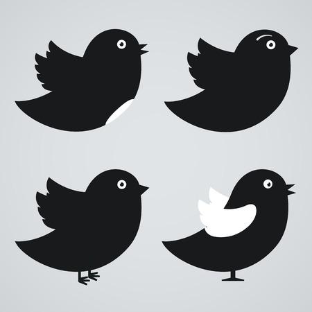 aves caricatura: Conjunto de iconos de los pájaros