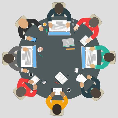estação de trabalho: Trabalho em equipe para uma mesa redonda Ilustra��o