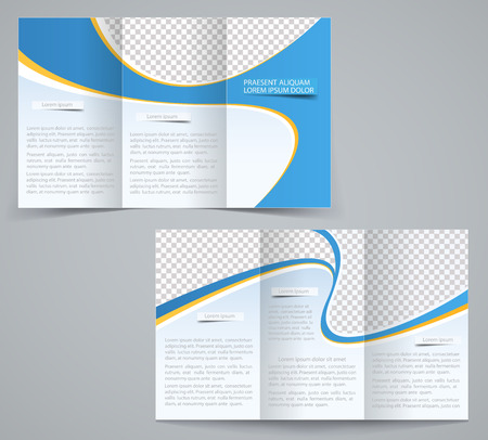 paper fold: Three fold business brochure template, corporate flyer or cover design in blue colors